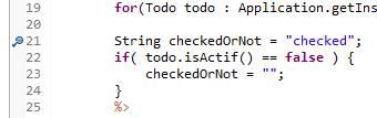 Point d'arrêt dans le code Java JSP