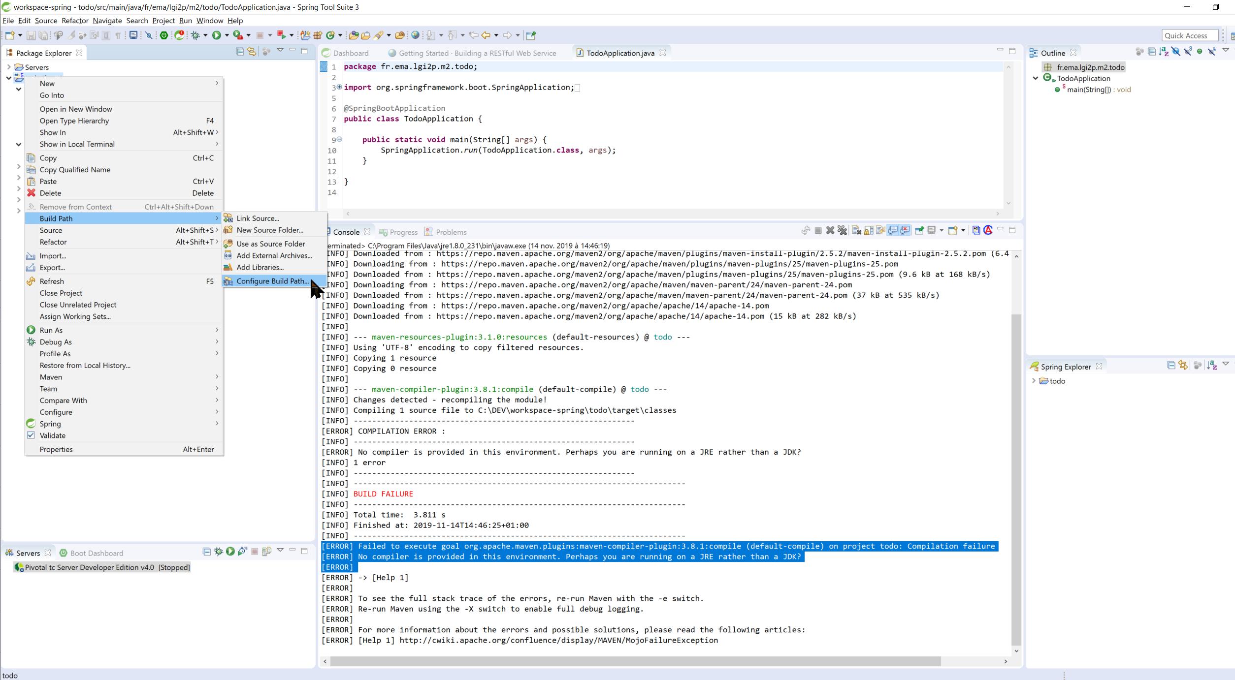 Eclipse Spring erreur JDK Configure Build Path