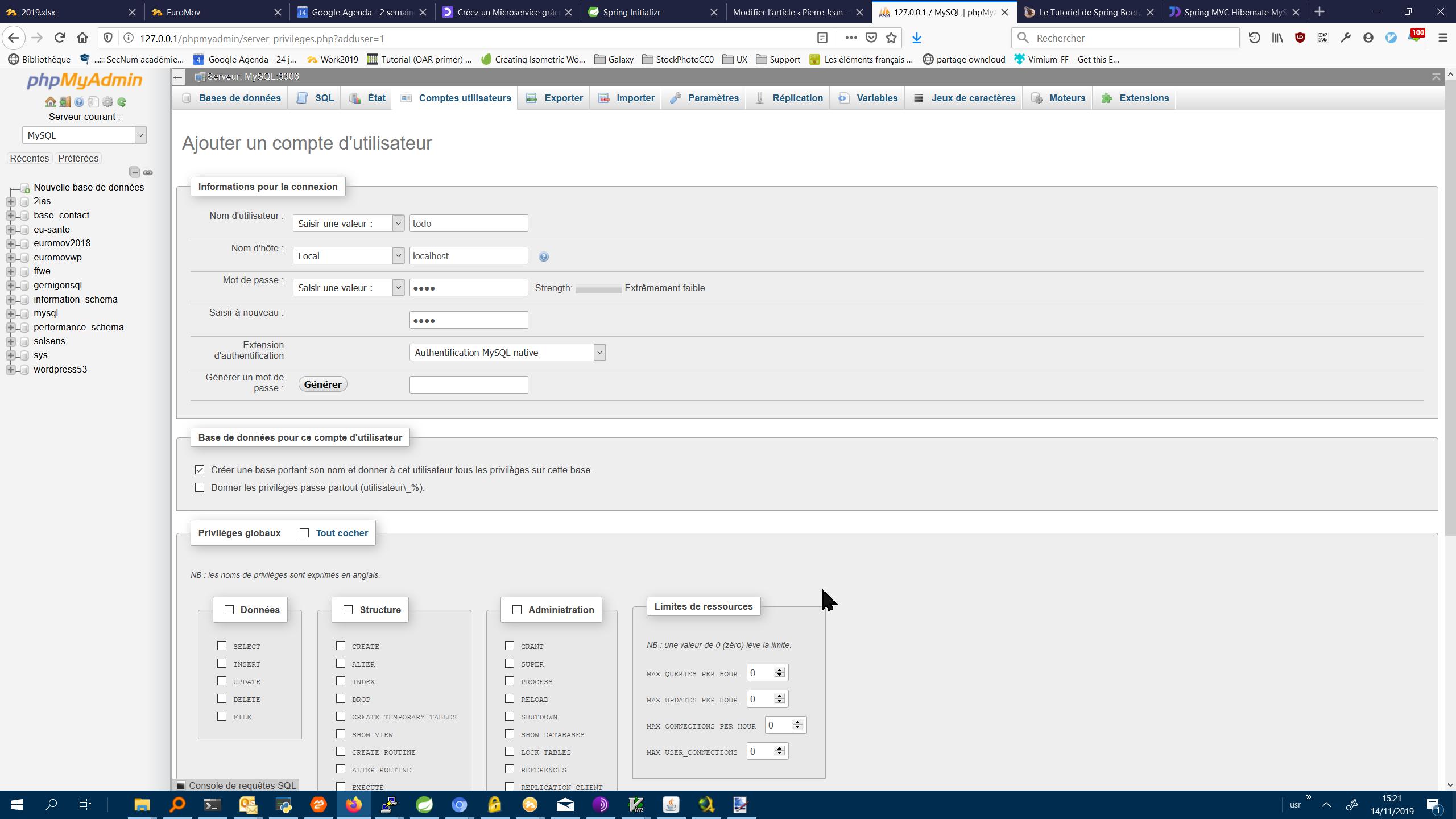 PhpMyadmin configuration utilisateur et base de données