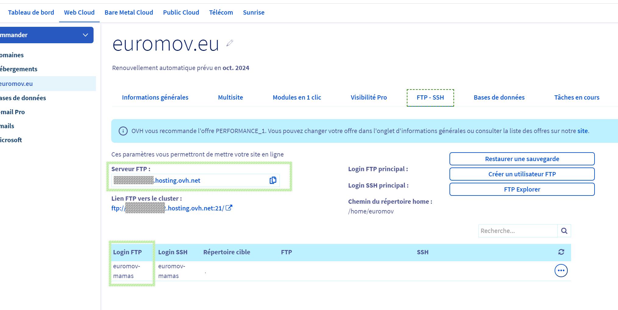 Console d'administration d'euromov.eu avec informations sur les réglages du serveur FTP